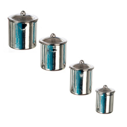 "Four-piece stainless steel ""look"" canister set"