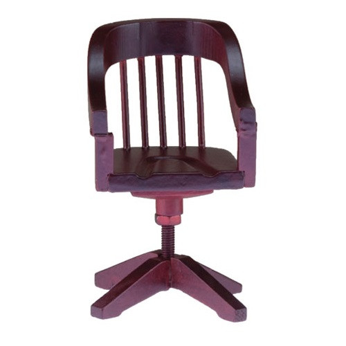 Miniature mahogany stained wood swivel office chair.