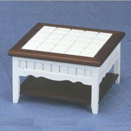 White Painted Wood Dollhouse Coffee Table With Walnut Stained Wood Shelf  And Top Trim.