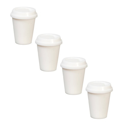 Set of four take-out cups with lids