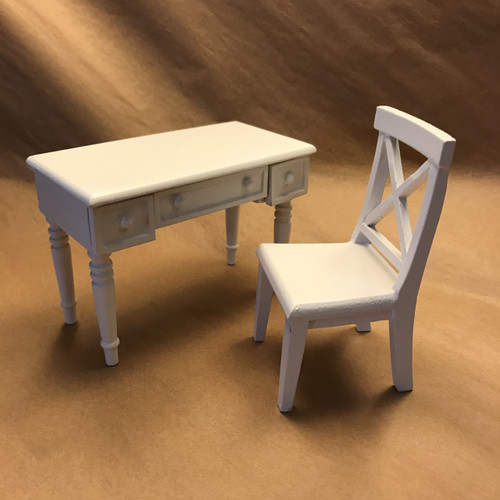 Miniature white painted wood desk and chair set
