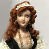 Facial close up of miniature (1:12) scale gypsy woman