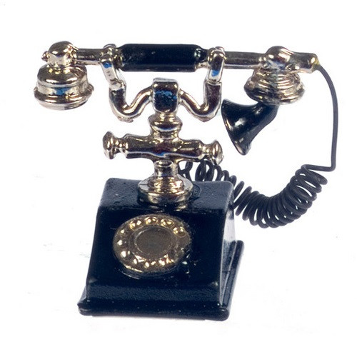 Image of black and gold French style telephone