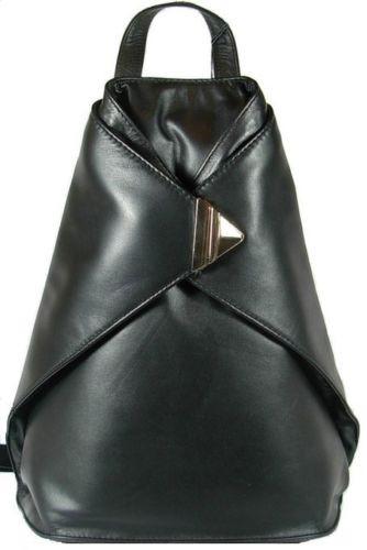 Soft Leather Triangular Women Backpack Handbag Shoulder Bag Purse Image 1