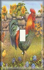 Rooster And Sunflowers - Light Switch Plate Cover