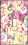 Yellow/Pink Roses - Light Switch Plate Cover