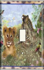 Zebra And Lion - Light Switch Plate Cover