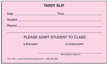Tardy Slips 196 Supreme School Supply