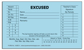 Excused Slips, Blue (150BEX)