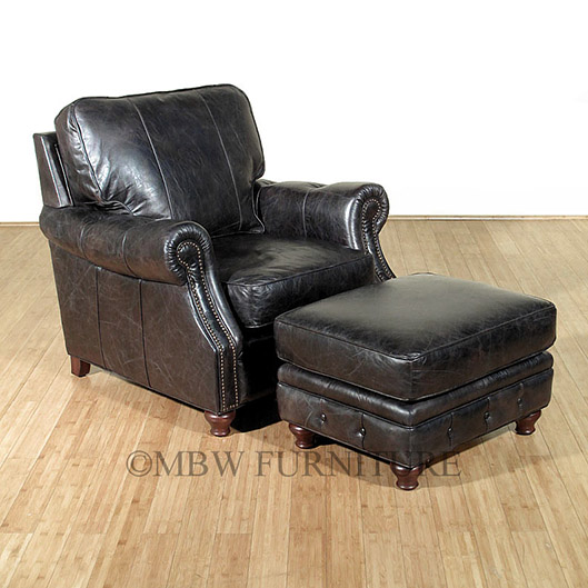 Adding Opulence To Any Living Room Or Den, This Arm Chair And Ottoman Have  Distressed Old Saddle Genuine Leather Upholstery In Black With Scrolled ...