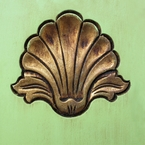 Green with Gold Wood Paint Sample