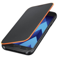 Samsung Original Neon Flip Wallet Cover for Samsung Galaxy A3 2017 - Black (No Retail Packaging, Frustration Free Packaging) - EF-FA320PBEGWW