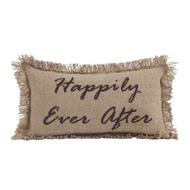 Burlap Natural Pillow Happily Ever After 7x13