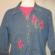 Fuchsia Flower 3/4 Sleeve Shirt