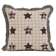 Bingham Star Fabric Filled Pillow with Applique Stars 16x16