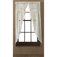 Tobacco Cloth Natural Prairie Curtain Fringed Set 2 63x36x18