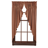 Burgundy Check Scalloped Prairie Curtain Set of 2 63x36x18