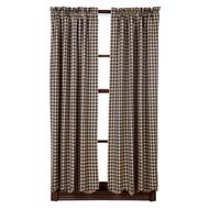 Black Check Scalloped Short Panel Set of 2 63x36