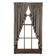 Black Star Scalloped Prairie Curtain Set of 2 63x36x18