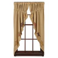 Stratton Burlap Applique Star Prairie Curtain Set-2 63x36x18
