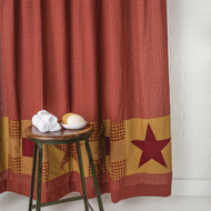 Ninepatch Star Shower Curtain w/ Patchwork Borders 72x72