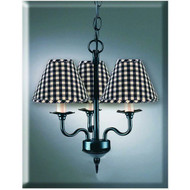 "3-Arm Chandelier 16"" x 18"" Black"