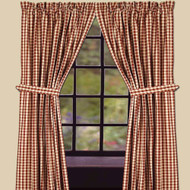 """Heritage House Check 72"""" x 63"""" (2 pcs)(pair of fabric tiebacks included) Barn Red - Nutmeg"""