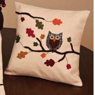 "Harvest Owl 14"" x 14"" Cream"