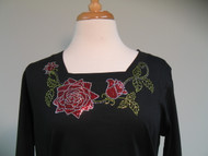 Red Rose 3/4 Sleeve Square Top