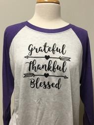 Grateful Thankful Raglan 3/4 Sleeve Top