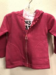 Kids Rhinestone Zip Hoodie / Fuchsia