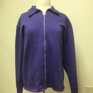 Rhinestone Zip Cardigan- Purple
