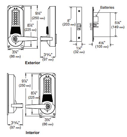Kaba E-Plex 5686 Series E5686XSWL-626-41 Mortise Entry/Egress ...