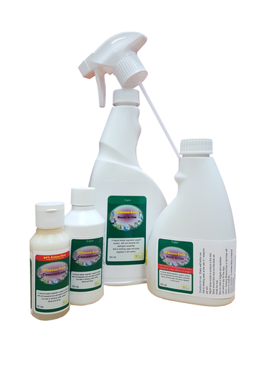 Herbal spray to support birds respiratory systems.