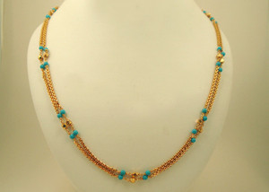 Gold plated necklace with Turquoise round beads fashion jewelry
