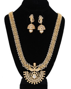 American Diamond Party Wear Indian Jewelry Wedding Long Necklace Earring Sets