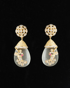 Off White Bead with CZ Stone Studded Dangle Earrings