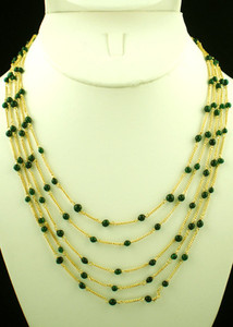 Indian designer fashion jewelry with green beads- CJN285