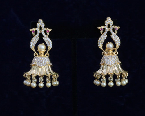 Gold Plated Dangling Jhumka Earrings With Faux Pearl Ball