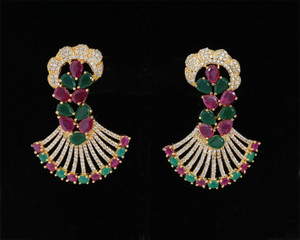 Designer Earrings Studded Ruby Emerald Cubic Zirconia Stone