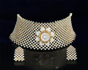Indian Bollywood AD Wedding Clear stone CZ Bridal Fashion Jewelry Choker Necklace Set