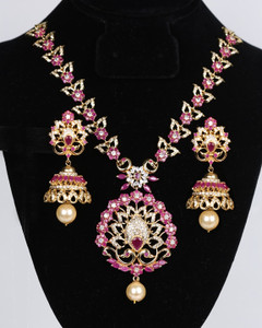 Ruby color stone studded jewelry necklace Jhumka earring set
