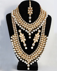White Kundan Clear stone 5pcs Bollywood Necklace long Haar set