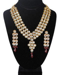 Gold Plated CZ Polki Kundan Bridal Necklace Set