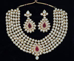 Large Indian Ethnic Style Bollywood Gold Plated Wedding Necklace Set