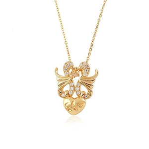 18K025-18 karat Gold plated Swan  Heart shaped pendant embedded with cubic zirconia stones
