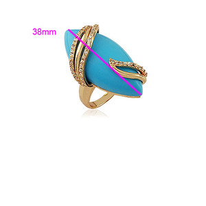 18K Gold plated Turquoise with Cubic Zirconia Accents Ring