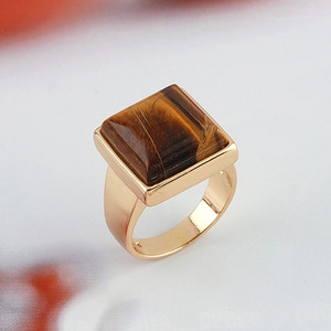 18K Gold plated Square  Topaz Ring