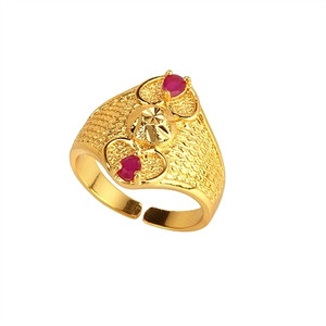18K Gold plated with Fuchsia Accents Ring 1011RNG6