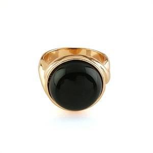 18K Gold plated Large round Black Ring